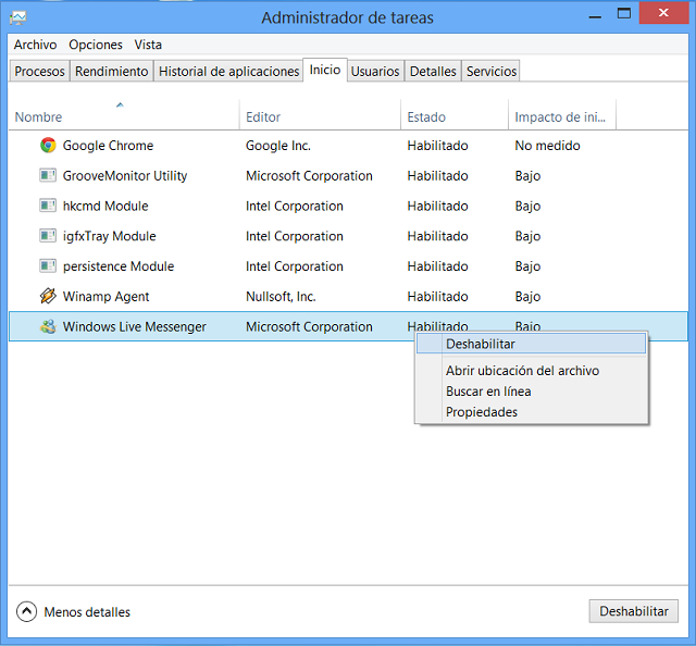 Deshabilitar programas inicio - Rendimiento de windows 8